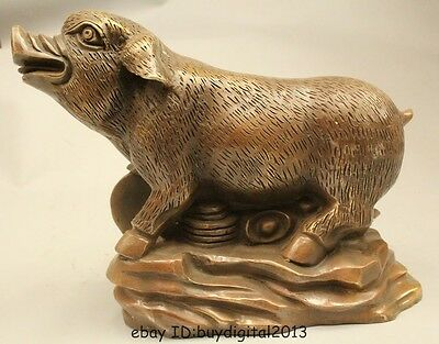 "9""Lucky China Chinese Fengshui Bronze Zodiac Year Wealth Money Pig Statue"