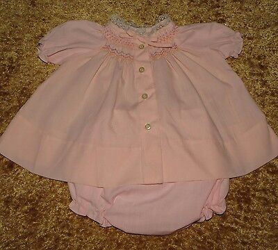 Vintage Baby Girl's Babyfair Imports Smocked Dress W/ Diaper Cover Approx 3-6 M