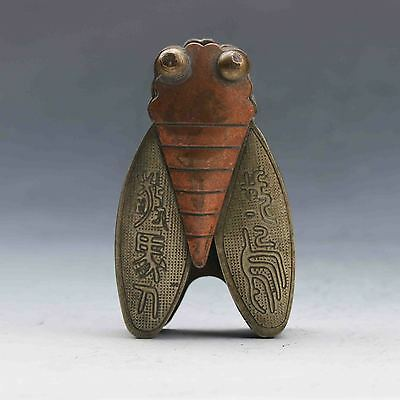 Old Chinese Ancient Collection Museum Hand carved Bronze cicada statue G873