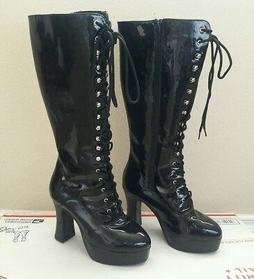 Womens High Heeled Patent Leather Combat Granny Boots Dominatrix Goth Size 8 M