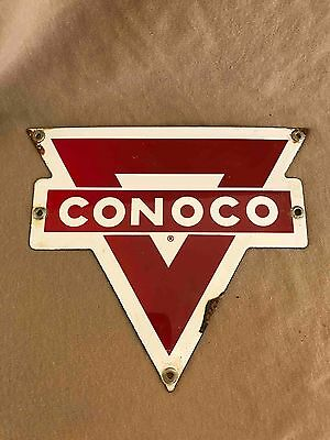 Old Conoco Gasoline Porcelain Advertising Pump Plate Gas Oil Sign