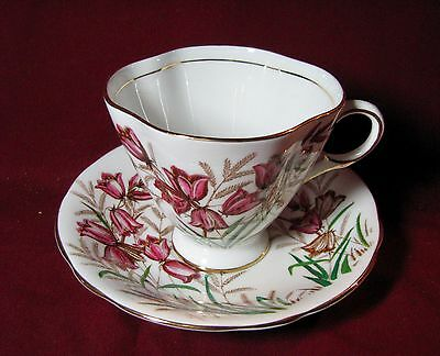 England Clarence bone china hand ptd floral cup & saucer c.1950's-60's