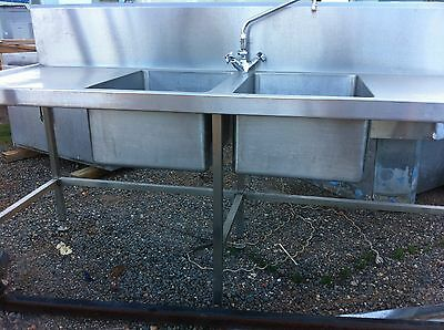 Commercial Style Stainless Steel Double Sink on Stand with Tap Fittings etc