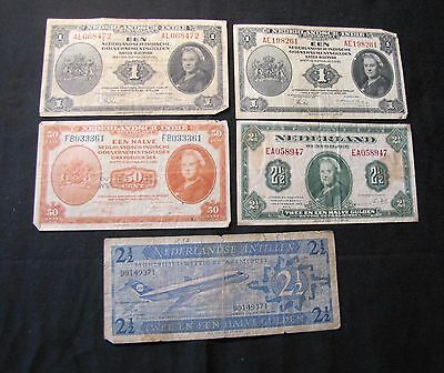 Lot of 5 Netherlands Notes - 1943 50 Cents, 2x 1943 1 Gulden, 1943 2 1/2 Gulden