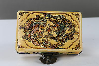 Collection Chinese painted Dragon and Phoenix Wooden Jewelry box   h684