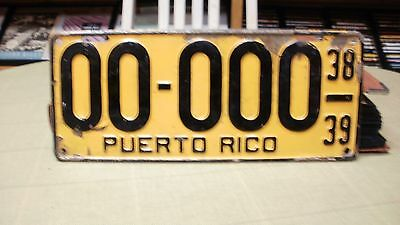 1938-39 Puerto Rico Sample License Plate #00-000