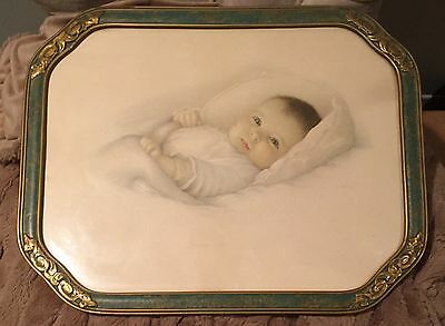 Vintage ART DECO GREEN, GOLD BEAUTIFUL Picture Frame c1920s,30s? with baby print