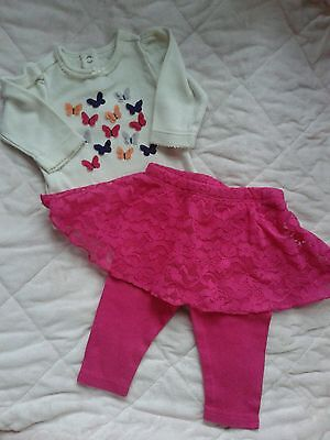 Baby girl clothes 0-3 months outfit set lot ~CUTE! pink skirt leggings butterfly