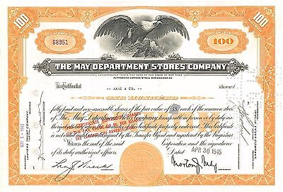 The May Department Stores Company 1945 New York stock certificate   now Macy's
