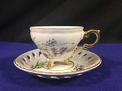 Vintage Ucagco Footed Tea Cup & Ribboned Saucer