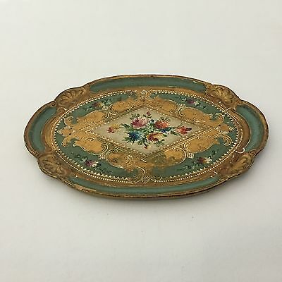 Vintage Hand Made Wooden Tray Legno Decorated Made in Italy