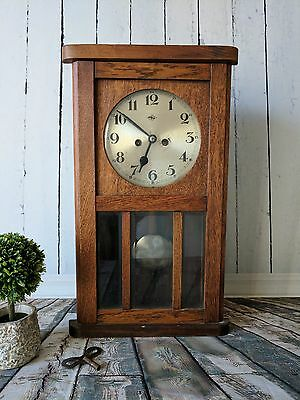 """Antique Doldonia Pendulum Clock """"Made in Germany"""" with vintage glass"""