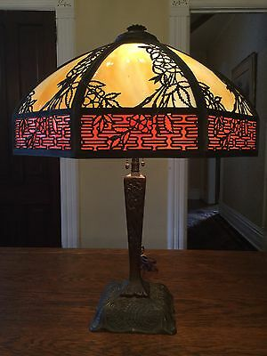 Vintage Charles Parker Lamp. Slag Stained Glass Cast Iron Base Antique Light