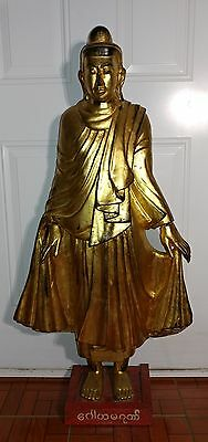 Large Superb Antique Gilt Wood Buddha With Mark 18-19 c Tibetan South East Asia