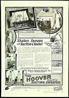 1917 HOOVER Vacuum Cleaner SUCTION SWEEPER Shakes Sweeps Household Vtg PRINT AD