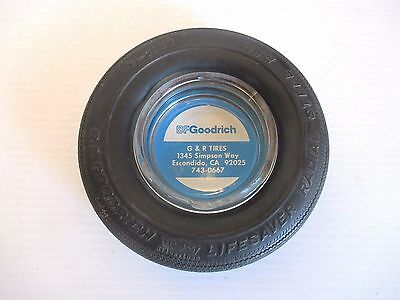 "Vintage B F Goodrich Tire Advertising Ashtray - Glass & Rubber 6"" Diameter"