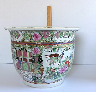 Vintage Famille Rose Medallion Fish Bowl Planter Jardiniere Asian Chinoiserie