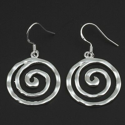Wholesale Lot 10 Boutique Hammered Arts & Crafts Silver Tone Swirl Boho Earrings