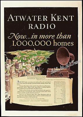 1927 ATWATER KENT RADIO Model 35 & HORN SPEAKER Full-Page Color Vtg PRINT AD
