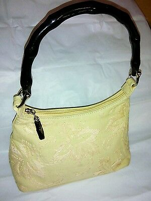Forever by Fossil beige canvas w/ black wooden handle & zipper pull hand bag