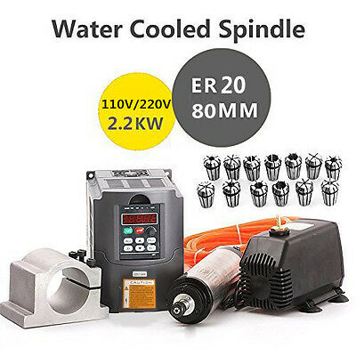 2200W 2.2KW Water Cooled CNC Spindle Motor+Inverter Converter+Collet+Clamp+Pump