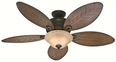 """Hunter 54"""" Tropical Style Onyx Bengal Outdoor Damp Rated Light Ceiling Fan"""