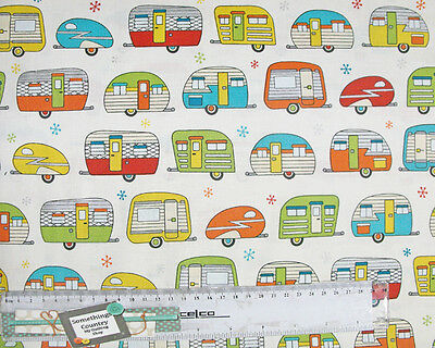 Patchwork Quilting Sewing Fabric ON THE ROAD CARAVANS Material Cotton 50x55cm...
