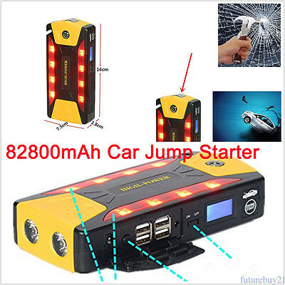 Portable 82800mAh Car Jump Starter Booster Battery Charger 4 USB Power Bank EU