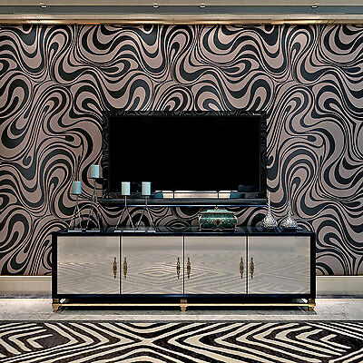 3D Modern Luxury Abstract Curve Mural Flocking Wall Paper Decor Wallpaper Roll