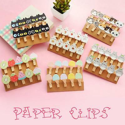 10PCS Cute Fruits Wooden Clip Photo Paper Craft Diy Clips With Hemp Rope US
