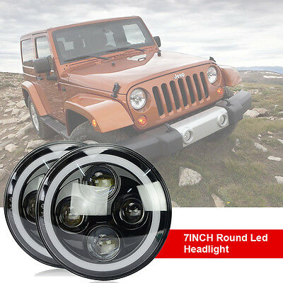 2X 7inch Round LED Headlights Black H4 Halo Angel Eyes DRL For JEEP WRANGLER