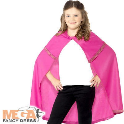 Pink Cape Girls Fancy Dress Medieval Tudor Superhero Childrens Costume Accessory