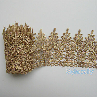 2m Vintage Embroidered Lace Edge Trim Ribbon Wedding Applique DIY Sewing Craft