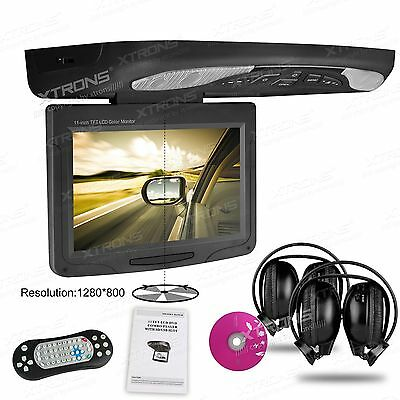"""11.3"""" Wide Screen LCD TFT Car SUV Truck Flip Down Roof Mount Monitor DVD Player"""