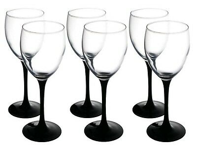 Set of 6 Tall Black Stem Elegant Wine Glasses | Glasses 250 ml
