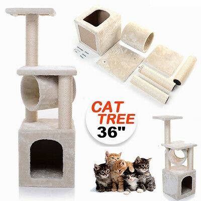 "36"" Cat Tree Activity Centre Scratcher Scratching Post Sisal Toys Bed"