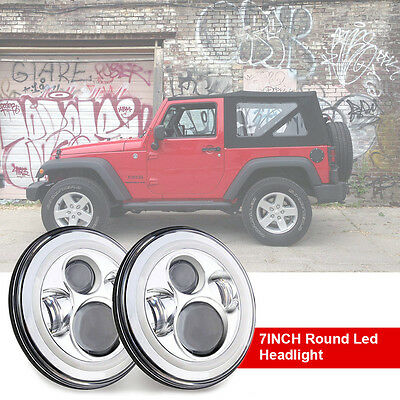 2PCS 7inch Osram Round LED Headlight Chrome H4 Halo Angel Eyes For JEEP WRANGLER