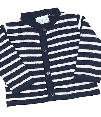 BabyPrem Baby Boys Blue & White Striped Knitted Cardigan Sweater 0 - 12 months