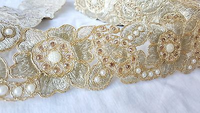 7cm- 1 meter Gorgeous gold embroidered diamante and beaded floral lace trim