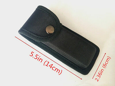 New HQ Black Nylon Sheath For Folding Pocket Knife Pouch Case Belt loop Button