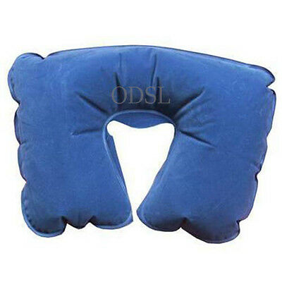 Inflatable Flock Neck Rest Cushion Travel Pillow Sleep Sleeping Head Support Uk