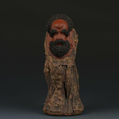 Chinese YiXing ZISha Handmade Carved Old man Statues