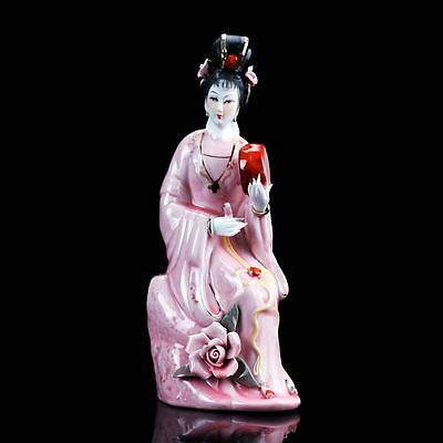 Chinese Famille Rose Porcelain Painted Beautiful Gril Statue