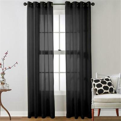 Black Floral Tulle Voile Door Window Curtain Drape Panel Sheer Scarf Divider FT