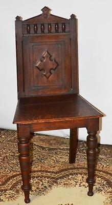 Victorian Oak Balustrade Cross Back Gothic Hall Chair mid 19C [PL3374]