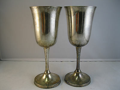 2 x Silver Plated EPNS Long Stem Champagne Flutes 285g