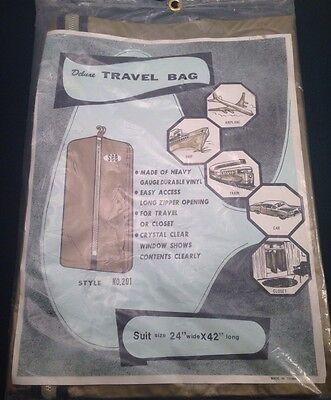 "Deluxe Travel Suit Garment Storage Bag VTG Vinyl W Metal Zipper 24"" X 42"""