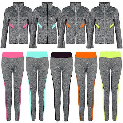Women Active Run Wear Ladies Gym Sports Jacket Leggings Zip Top Yoga Pants S-XL