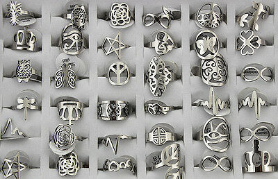 Job lots 30pcs stainless steel Mixed Design Top Quality Unisex Trendy rings