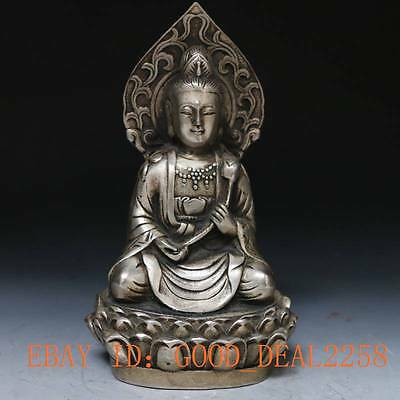 Collectible Decorated  Tibet Silver  Hand-Carved  Kwan-yin Statue gd9719